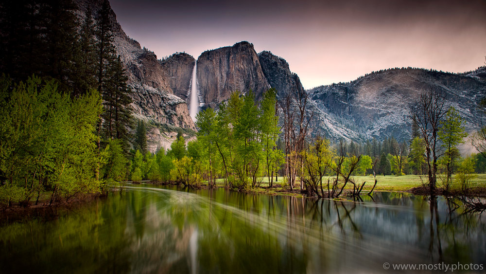Yosemite Falls from Swinging Bridge - Yosemite National Park, California