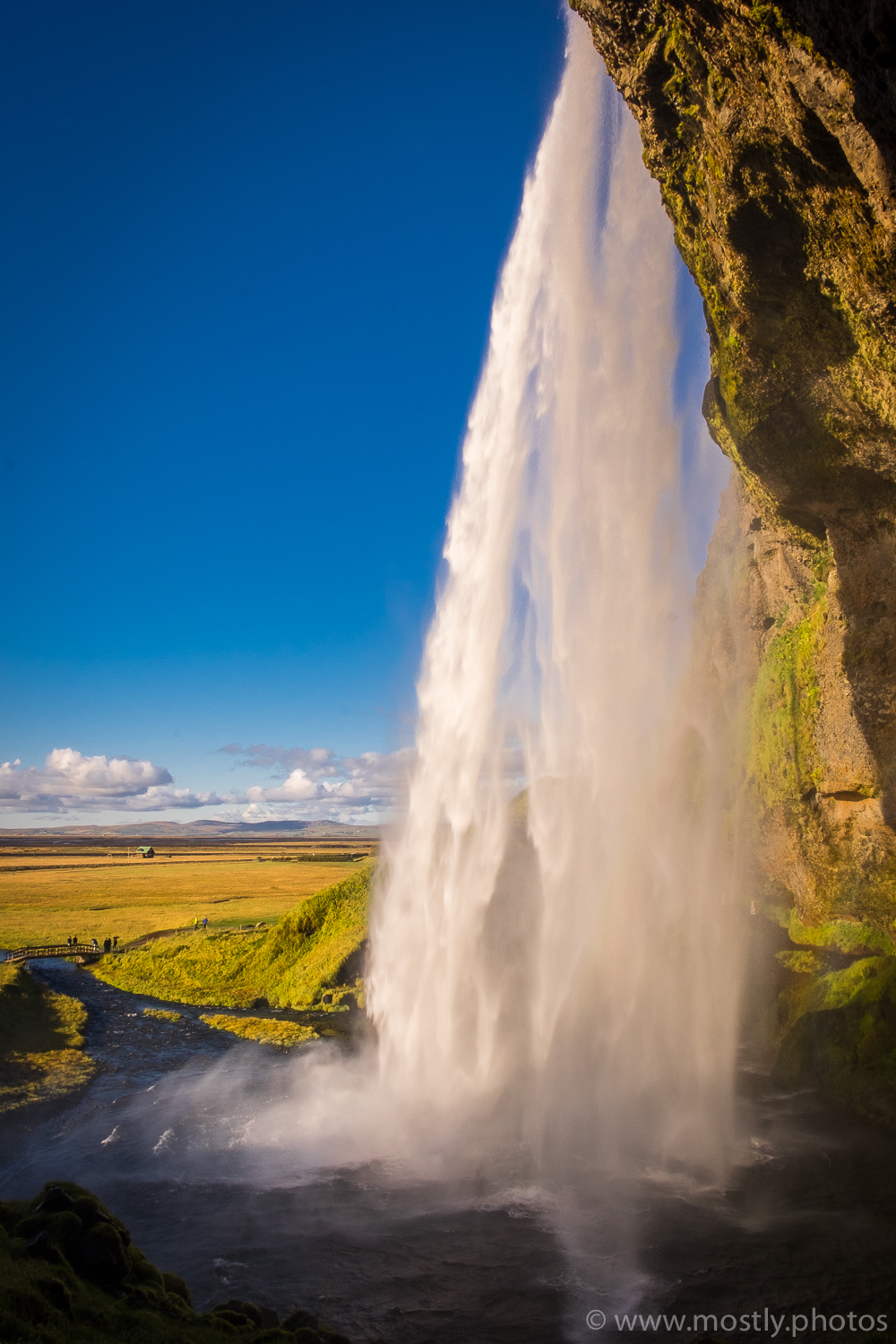 Fuji X-T1 - Cascading water from the path behind Seljalandsfoss falls