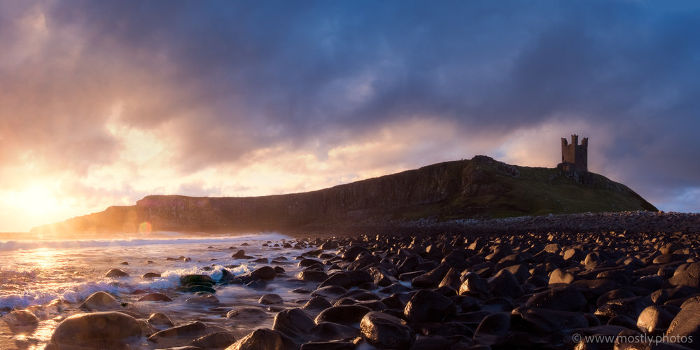 Fuji X-T2 and Fuji 18-135mm Dunstanburgh Castle just after dawn