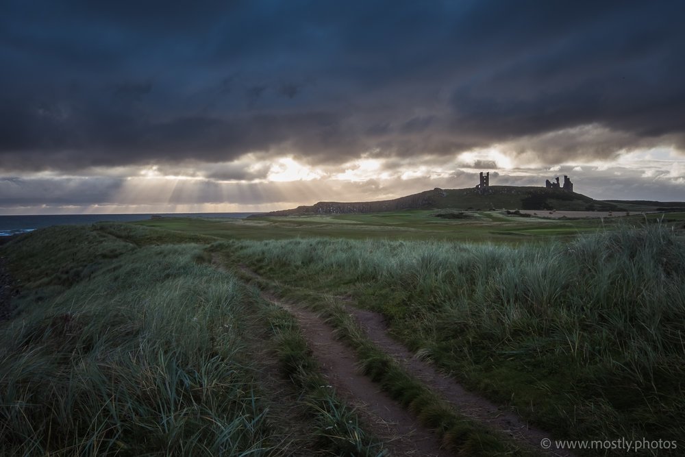 Fuji X-T2 and Fuji 18-135mm Dunstanburgh Castle over the dunes