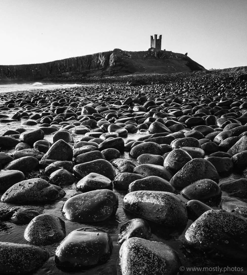 Fuji X-T2 with Fuji 10-24 f4 Dunstanburgh Castle dawn in Black and White