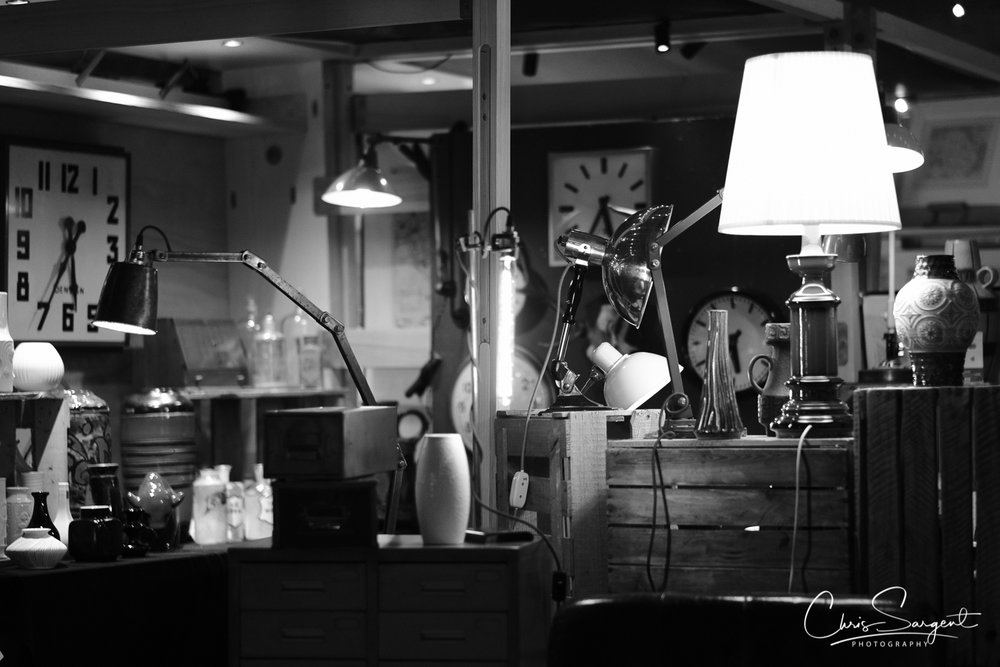 Fuji X-T2 56mm - ACROS Film Simulation Spitalfields Market at night - 'Lamps and Lights'