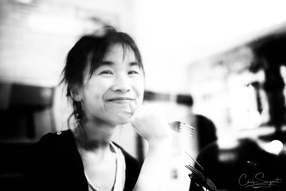 Fuji X-T2 All Smiles from a customer in a restaurant - Shoreditch East London