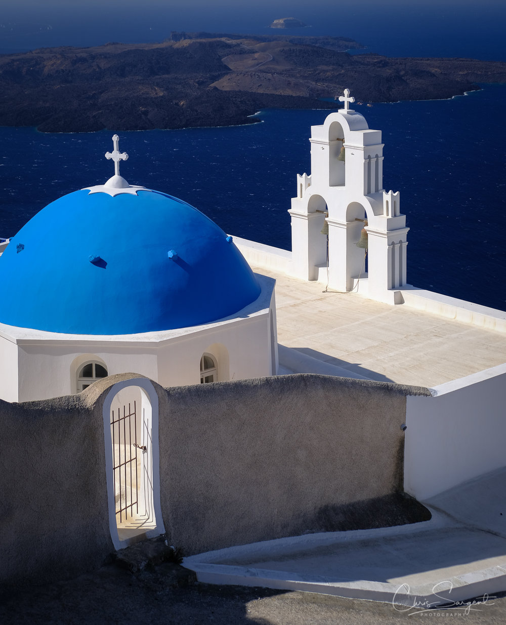 Three Bells of Fira Church, Fira, Greece  Fuji X-T3 and Fuji 18-135mm lens Fuji Velvia Film Simulation