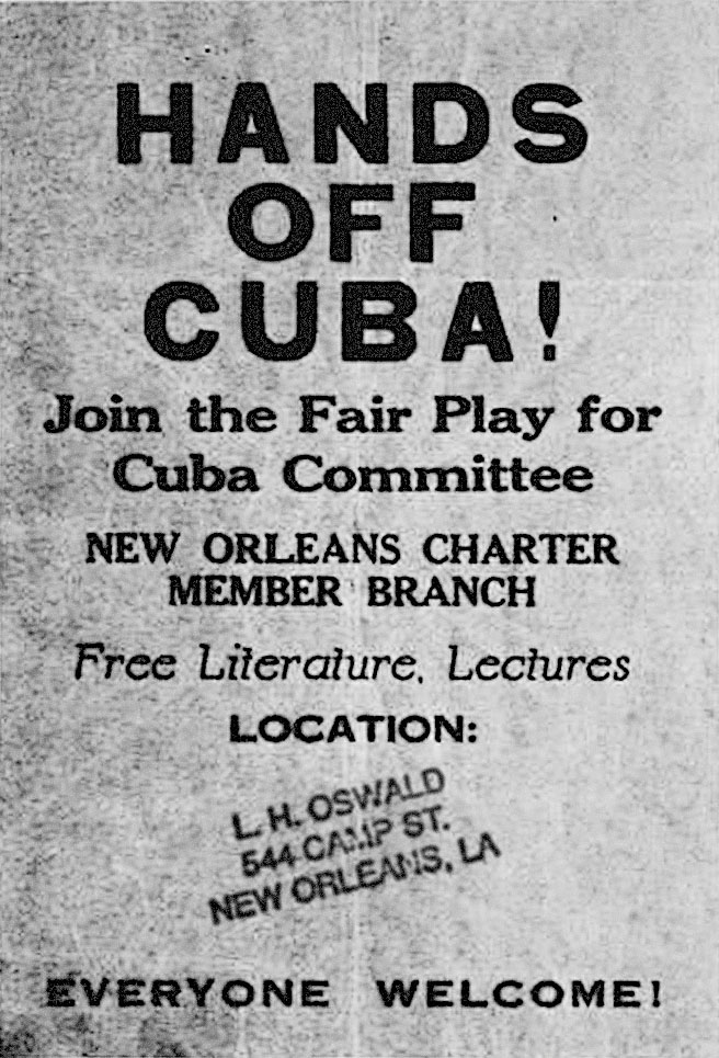 "One of Oswald's leaflets which has the address ""544 Camp St"" stamped on it. The address pointed to the Newman Building, an epicenter of anti-Castro, anti-communist militancy in New Orleans."