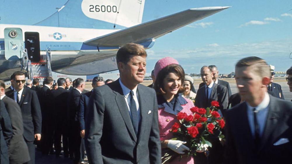 John and Jackie Kennedy at Love Field, Dallas, November 22, 1963.