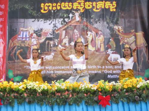 PE2 girls performing Apsara dancing, a traditional Khmer dance.
