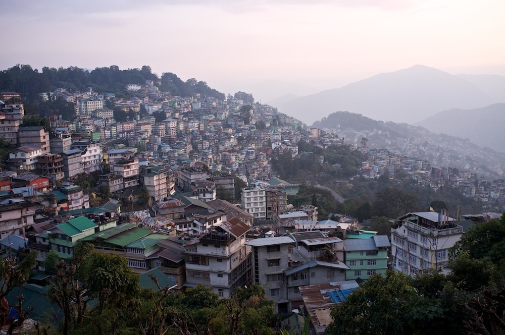Gangtok at dusk from our hotel.