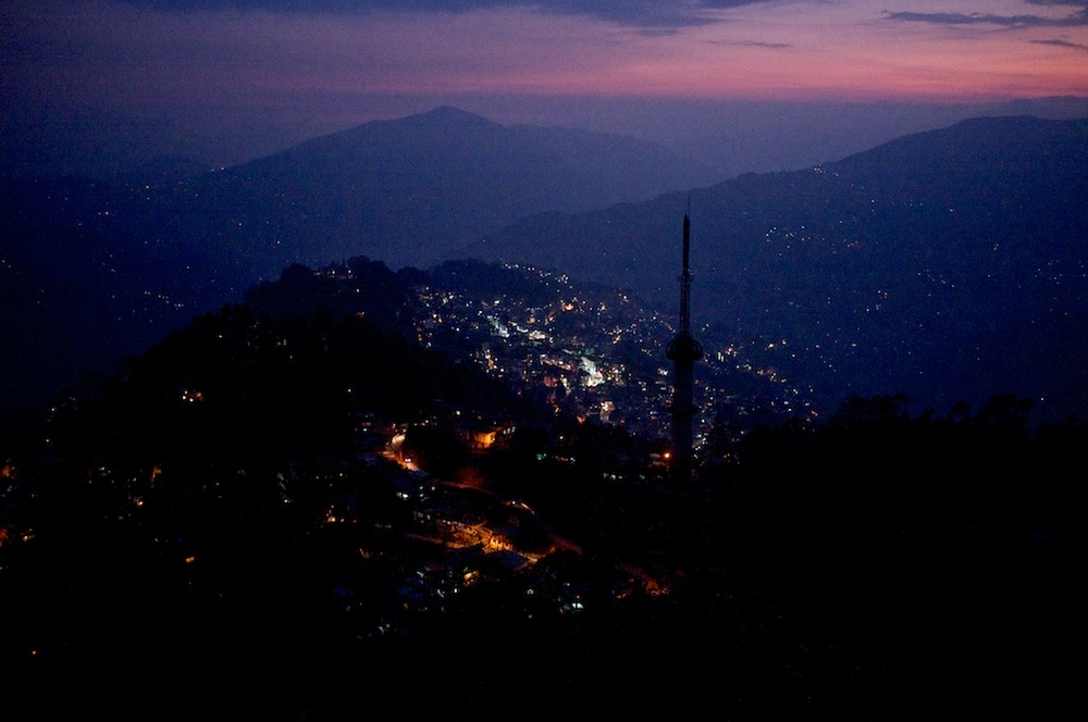 Gangtok after sunset from above.
