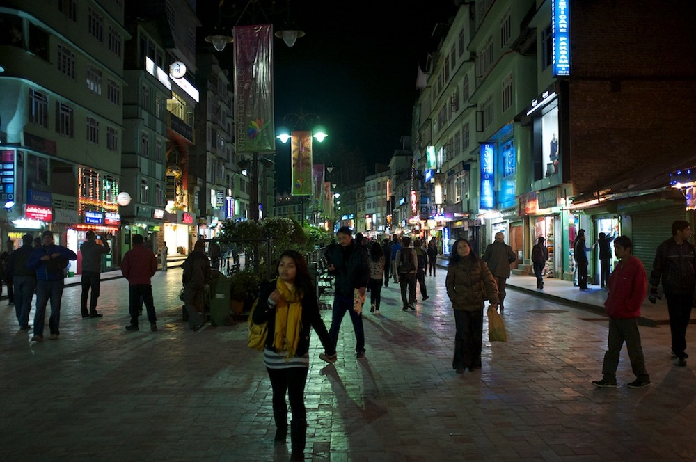 Shopping in Gangtok at night.