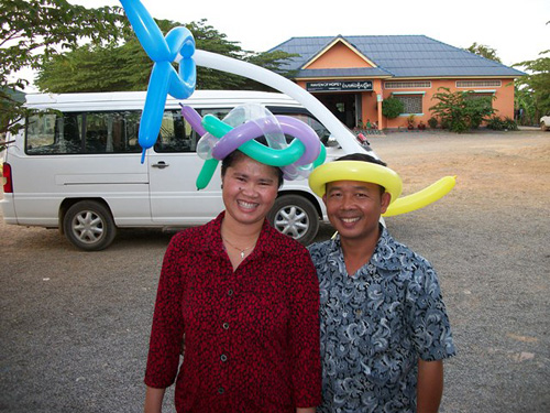 Kim Choo and Vannak, the house parents of BB4, after an apparent balloon party.