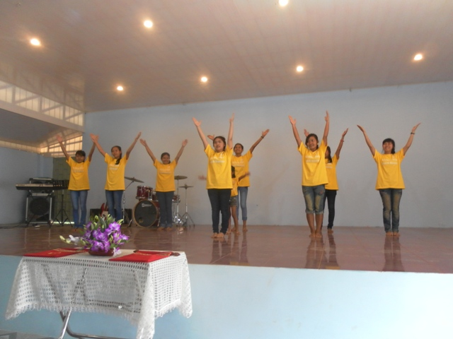 Battambang 1 kids perform at a Sunday morning church service in Asia's Hope's newly renovated worship center.