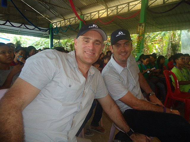 Pastors Jono and Paul at church in Battambang, Cambodia.