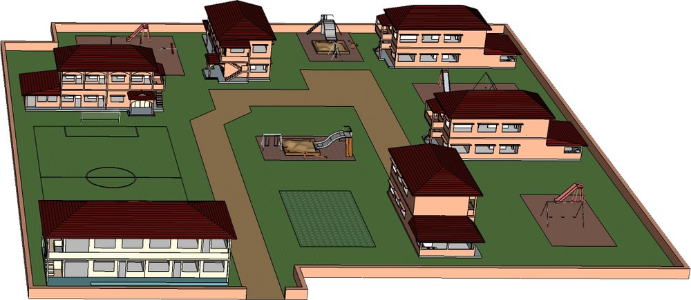 Original schematic for the Prek Eng campus. The actual building positions have changed slightly to optimize space.