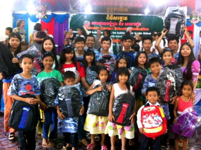 The children of Prek Eng 3 enjoying their new book bags and school supplies donated by Crossroads Church of Mansfield, Ohio. Crossroads sponsors our Battambang 3 and Battambang 7 children's homes. We love seeing this kind of cross-congregational cooperation!