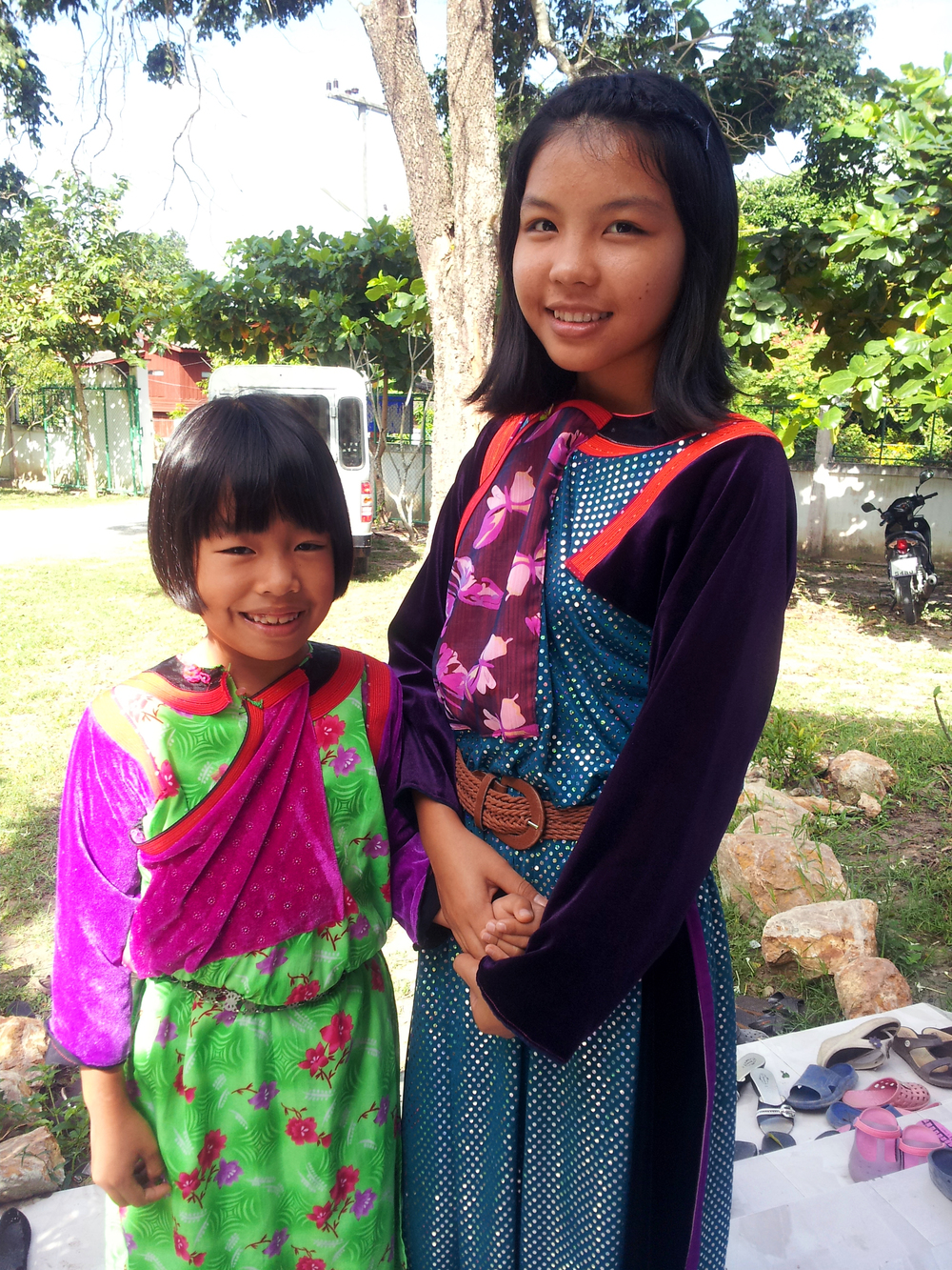 Two of our Lisu tribe girls proudly wear their traditional clothing.