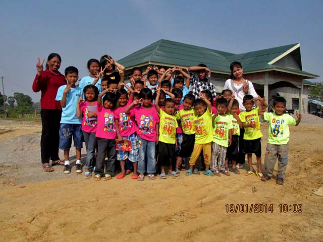The kids of Battambang 10 can't wait to move in to their new home on the Battambang campus.
