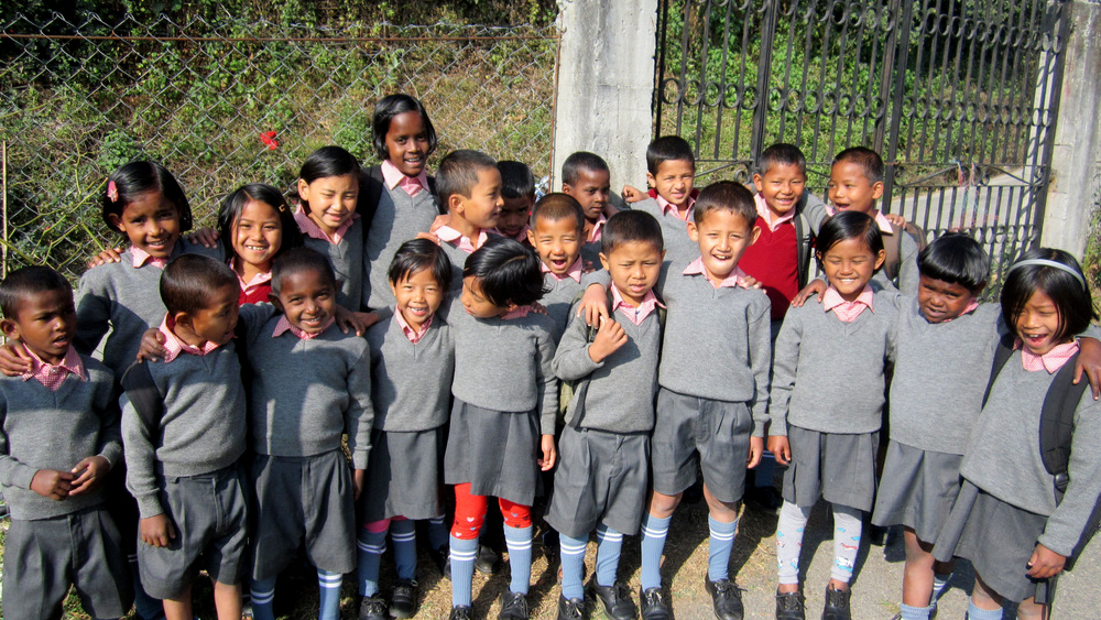 School is back in session--the kids of Kalimpong 2 are looking sharp in their school uniforms!