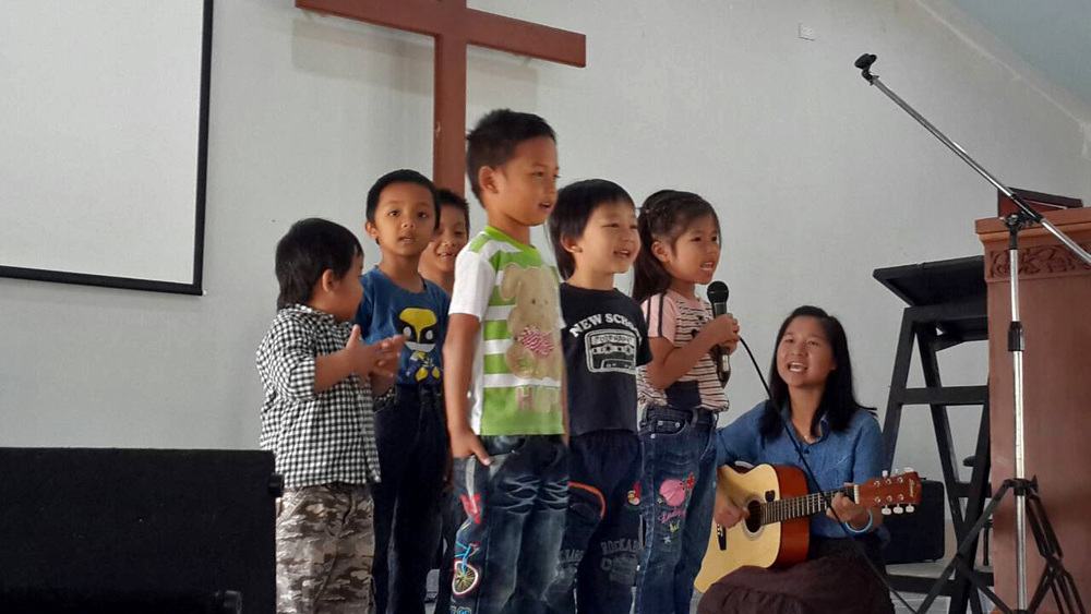 Rehearsing for Sunday's church service