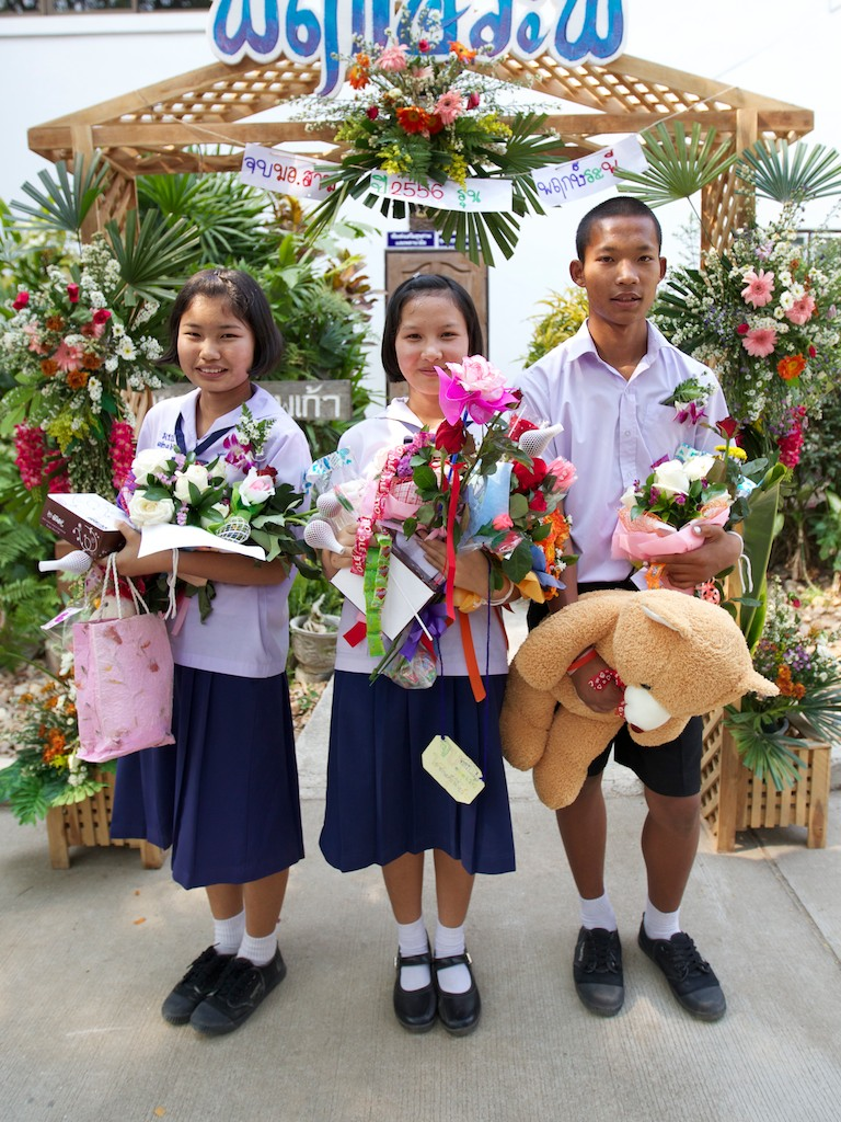 Three grade 9 graduates from Doi Saket 1 in Thailand. Congratulations!