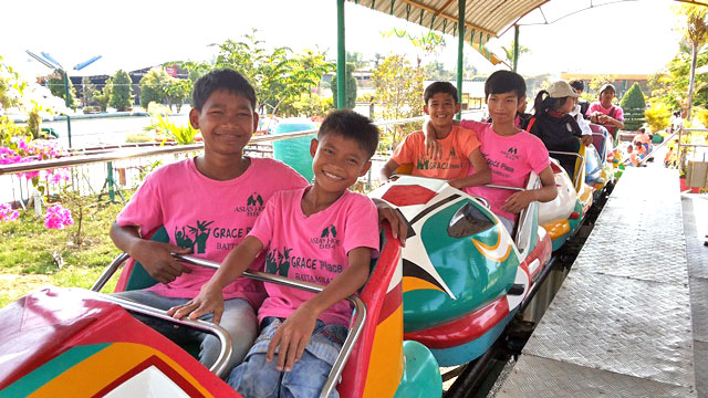 The kids visited a local amusement park with their church sponsors
