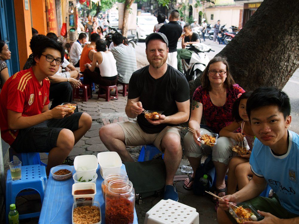 Pictured left to right: Pak, John, Kori, Xiu Dan and Chien McCollum in Hanoi, Vietnam