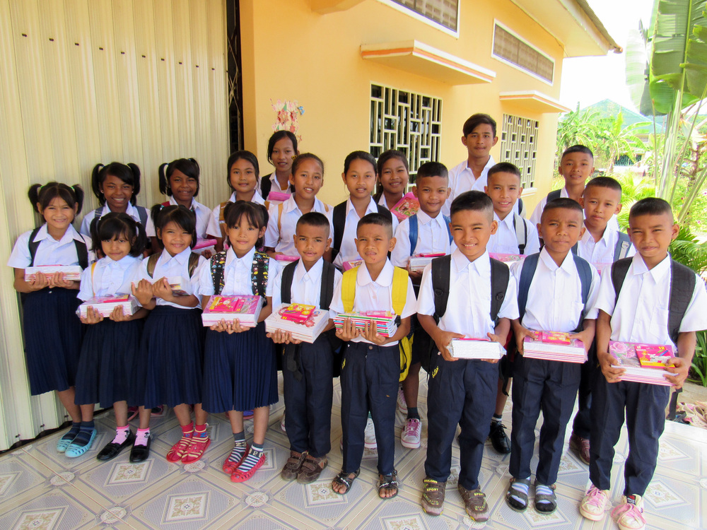 The Battambang 9 kids, looking sharp in their new school uniforms!