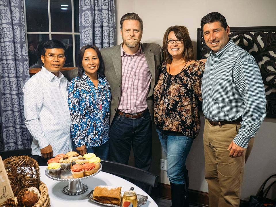 Savorn Ou, Cambodia Director with his wife Sony, Executive Director John McCollum with Tim and Michelle Armstrong at a welcome dinner hosted at the Armstrong home in October. Tim is the pastor of The Chapel (Akron, OH), one of our newest partnering churches.