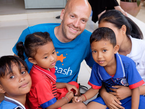 Jeremy with some kids at the Asia's Hope Prek Eng 2 home.