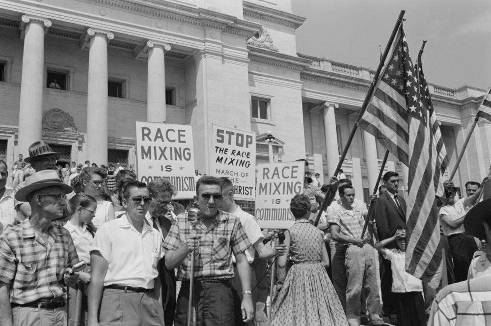 A pro-segregation rally at the Arkansas State capitol in Little Rock, protesting the integration of schools like Little Rock's Central High School.