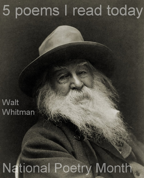 1.Americaby Walt Whitman (with audio!) http://bit.ly/kvY9pJ 2.Thrown as if Fierce & Wild by Dean Young (who had a new heart put in less than two weeks ago) http://bit.ly/mBepR4 3.Ovation by Carol Muske-Dukes http://bit.ly/mpWb1l 4.And Soul by Eavan Boland http://bit.ly/iSk7Bb 5. The Matchbook Diaries by Ryan Murphyhttp://bit.ly/lcOsit