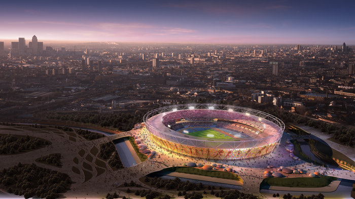 CGI IMAGE OF THE LONDON 2012 OLYMPIC STADIUM AT SUNSET