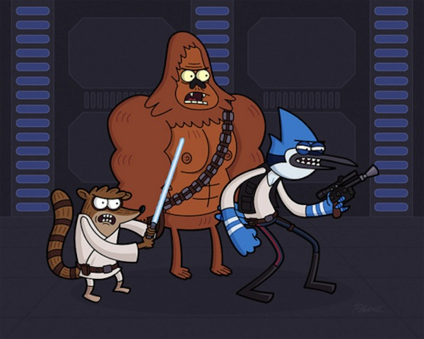 Regular Show's Rigby, Skips, and Mordecai as Luke, Chewbacca, and Han Solo