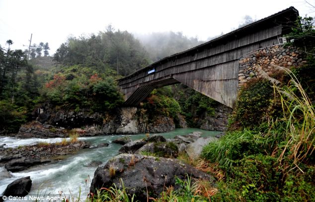 The Luanfeng Bridge, a timber arch lounge bridge, in the Xiadang village in south east China