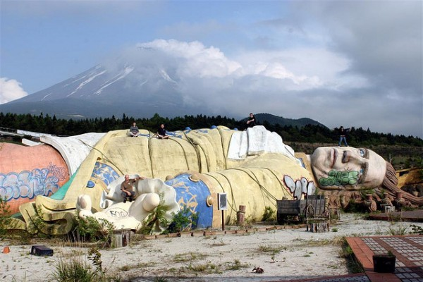 Gulliver's Kingdom in Japan. Located about 2.5 hours outside of Tokyo, the amusement park closed in 2001 due to low attendance. It was demolished in 2007. Photo:  Old Creeper