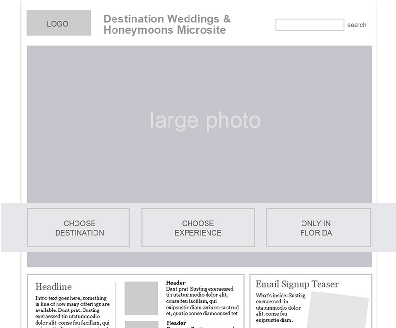 Weddings Microsite Lo-Fi prototype