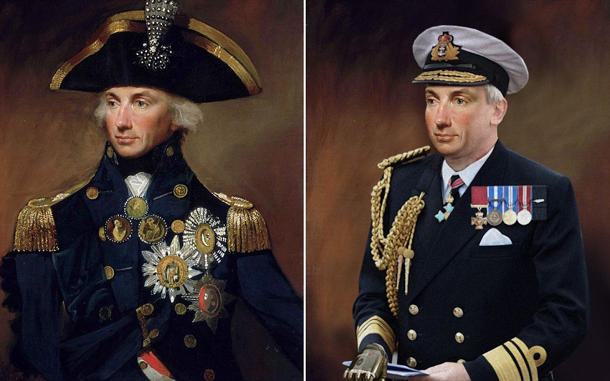 ABOVE: ADMIRAL LORD NELSON A Vice Admiral and dedicated navy officer, Nelson is dressed in a modern naval uniform. In today's Navy, Nelson would spend more time deskbound and as such he would have gained a little weight which is reflected in the portrait. To replace the right arm lost after being wounded in battle, he has been given a prosthetic to wear. The Victoria Cross wasn't available during his time but had they been in existence, he would have qualified.