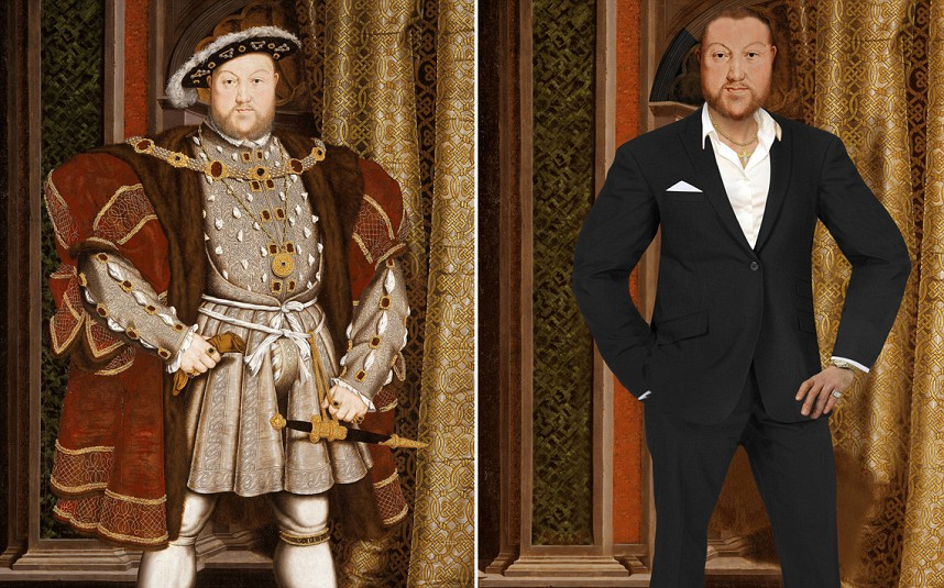 HENRY VIII   Renowned for being vain and lavish, King Henry has been given white veneers and hair plugs to hide his balding head.  Known to flaunt his wealth, is now out of his voluminous puffed sleeve velvet gown and in a tailored designer black suit, wearing a sparkling diamond ring and designer watch.  Instead of the cotton shirt fastened up to the chin he now sports an unbuttoned shirt Simon Cowell style and is very much the modern day lady killer.  An avid sportsman and known for being conceited he has been slimmed down. Henry's vanity would have ensured he would have retained the naturally muscly, rugby-player type figure he had in his youth.  Known for having spent a lot of time outdoors riding, hunting, and playing tennis, Henry VIII has also been given a tan.  Henry has exchanged his uncomfortable flat footed shoes for modern shoes with a heel.