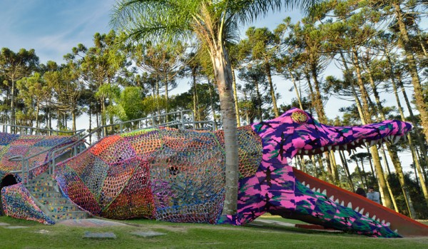 Crocheted Jacaré Alligator Playground   Designed by Olek   São Paulo   Learn more about this project  here .