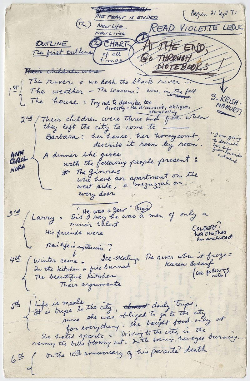 James Salter's outline for Light Years.