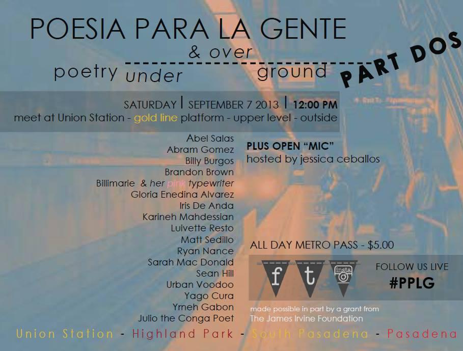 part of Poesia Para La Gente's Poetry Goes Underground September 7