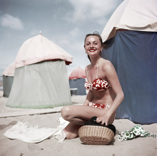 Woman in a bikini, Deauville, France, Aug. 1951.
