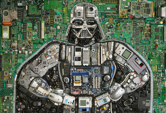 pop culture icons made in assemblage of toys and computer bits by