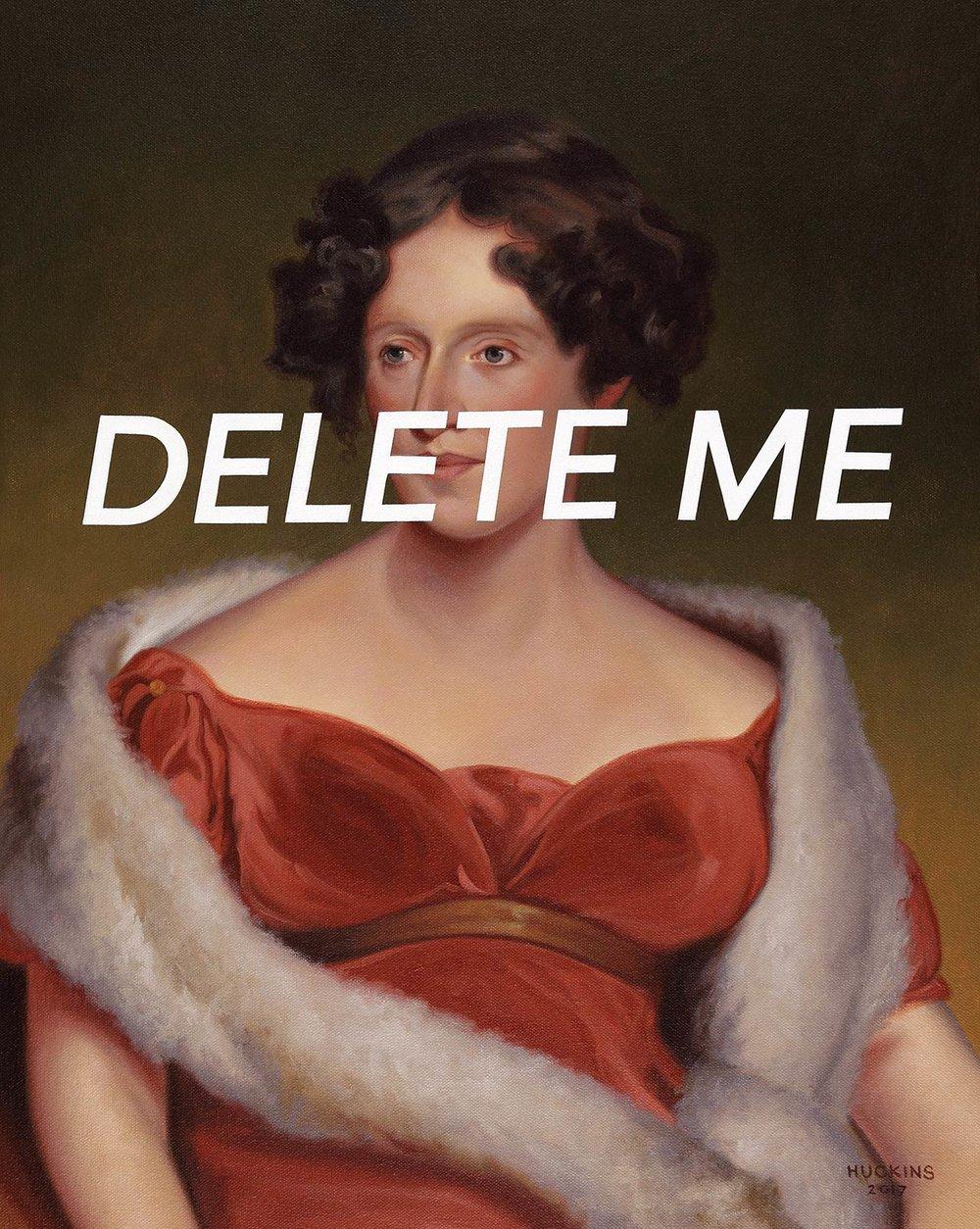 Mrs John Biddle: Delete Me, 2017. Acrylic
