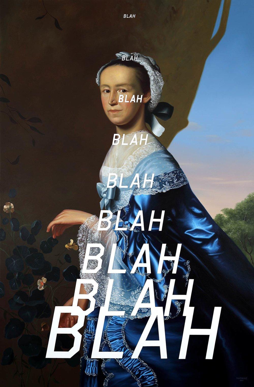 Mrs James Warren: Blah Blah Blah, 2017. Acrylic