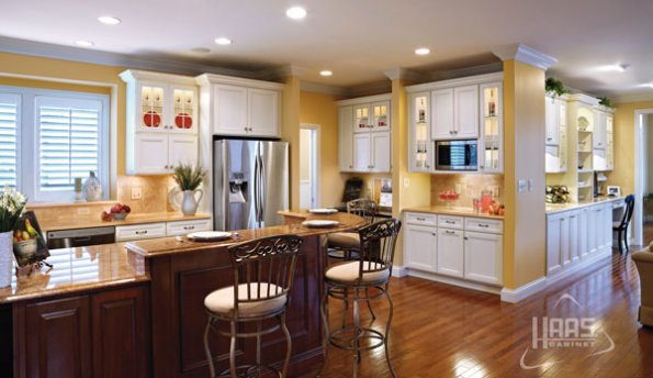Haas Hampton Maple Kitchen with Federal Cherry Island. Designed by Craig B. of Laminated Tops, Indiana