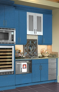 Bold, blue cabinets from Canyon Creek