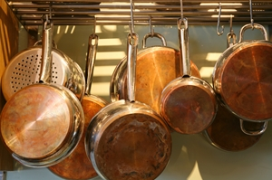 Hanging pots and pans saves cabinet space