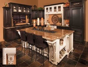 Decorative mouldings are the focal point for this kitchen