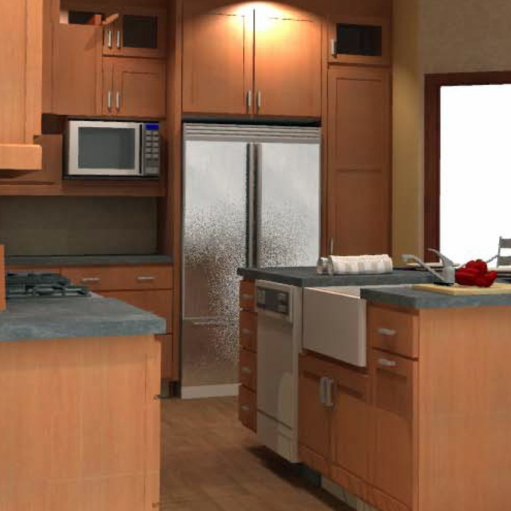 Rendering of kitchen in custom builder spec home.